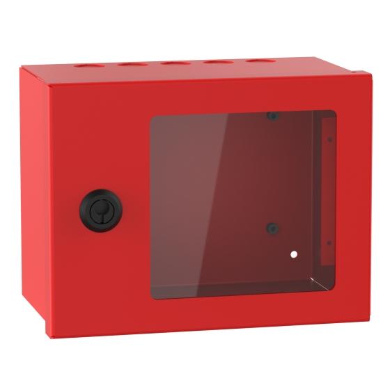 Plåtkapsling med fönster Röd